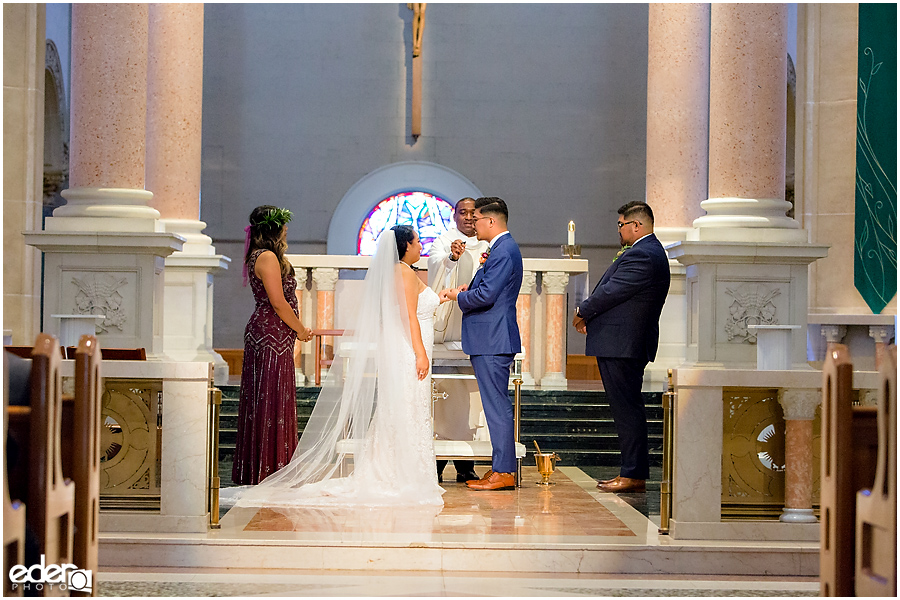 The Immaculata Wedding Ceremony ring exchange