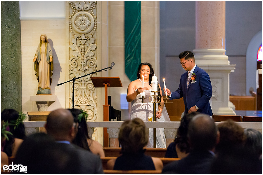 The Immaculata Wedding Ceremony candle lighting