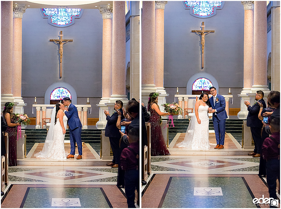 The Immaculata Wedding Ceremony first kiss