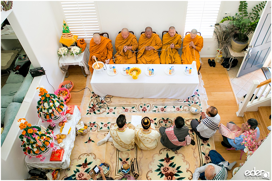 Lao Wedding Ceremony overhead photo