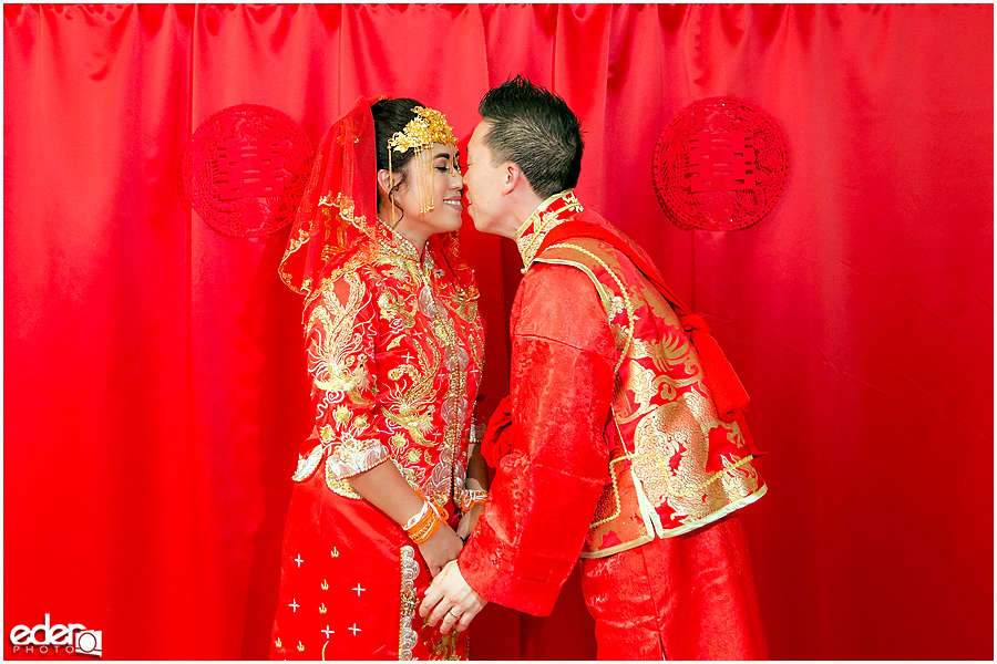 Chinese wedding first kiss