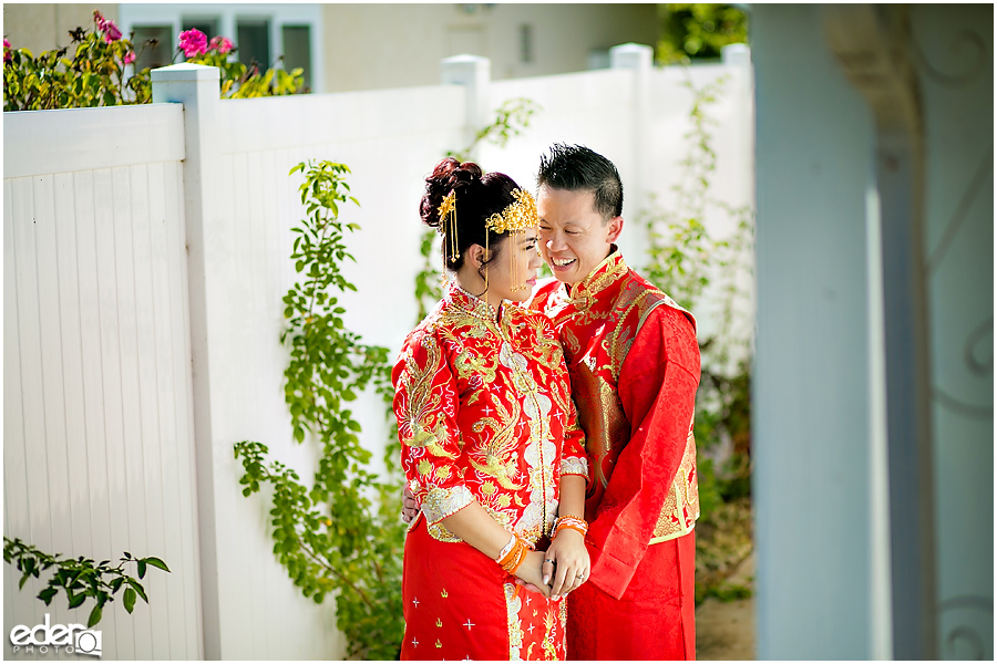 Chinese wedding bride and groom