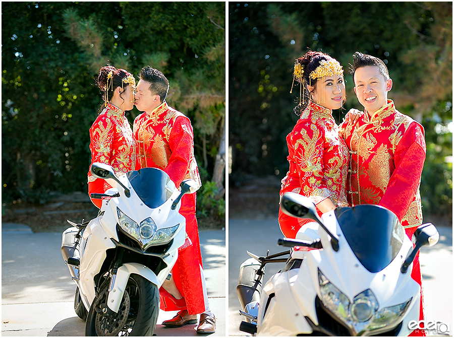 Bride and groom on motorcycle