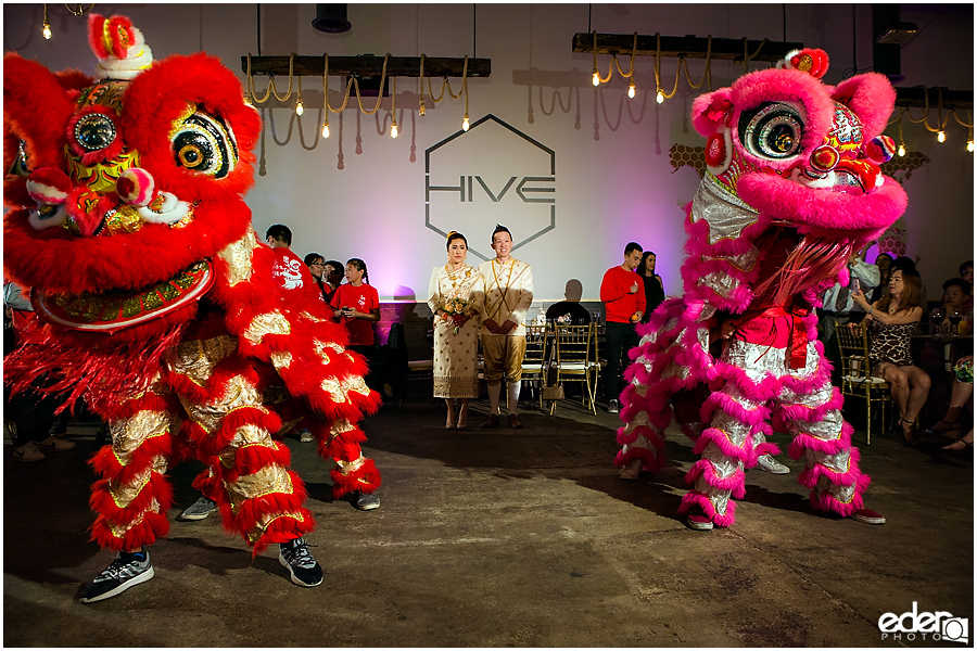 San Diego Lion Dancers at wedding