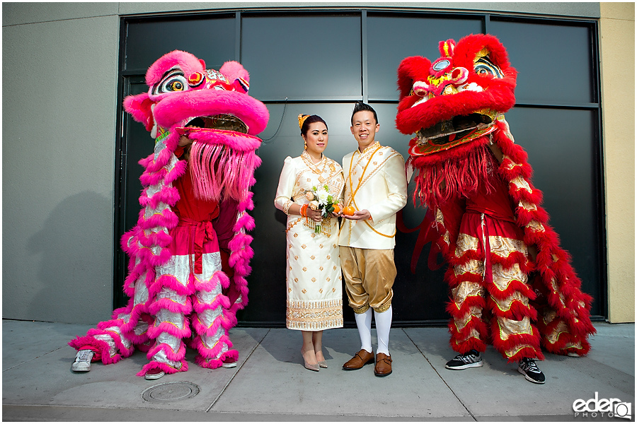 San Diego Lion Dancers at wedding with bride and groom