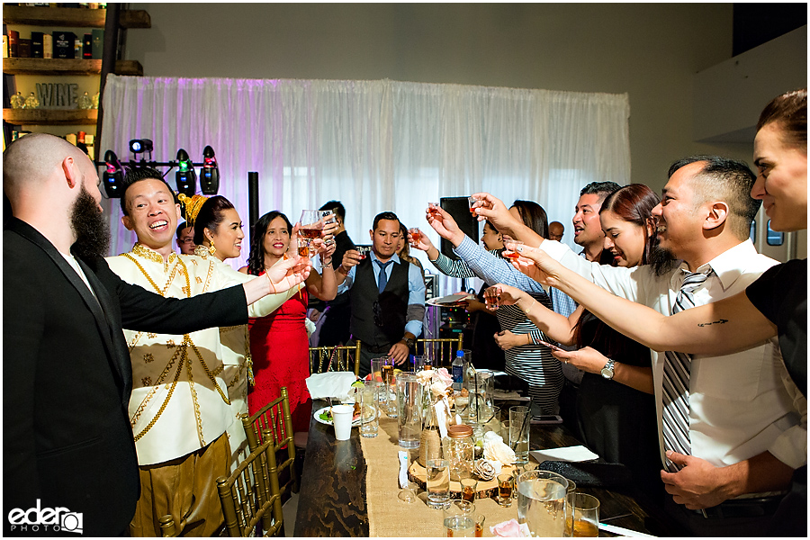 Multicultural Wedding Reception table toasts.