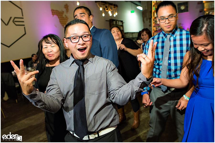 Dancing photo at wedding reception at HIVE in San Diego.
