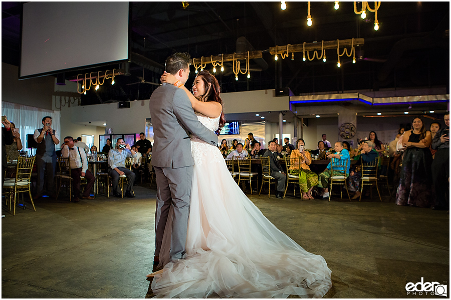 First Dance photo at wedding reception at HIVE in San Diego.
