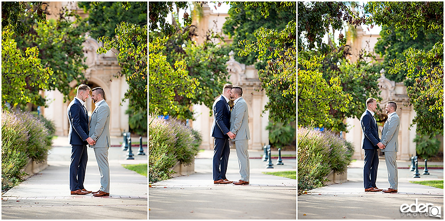 San Diego Elopement Photos in Balboa Park near museum.