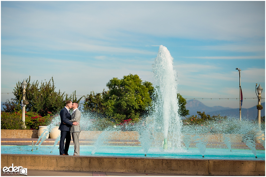San Diego Elopement Photos at Balboa Park fountain.