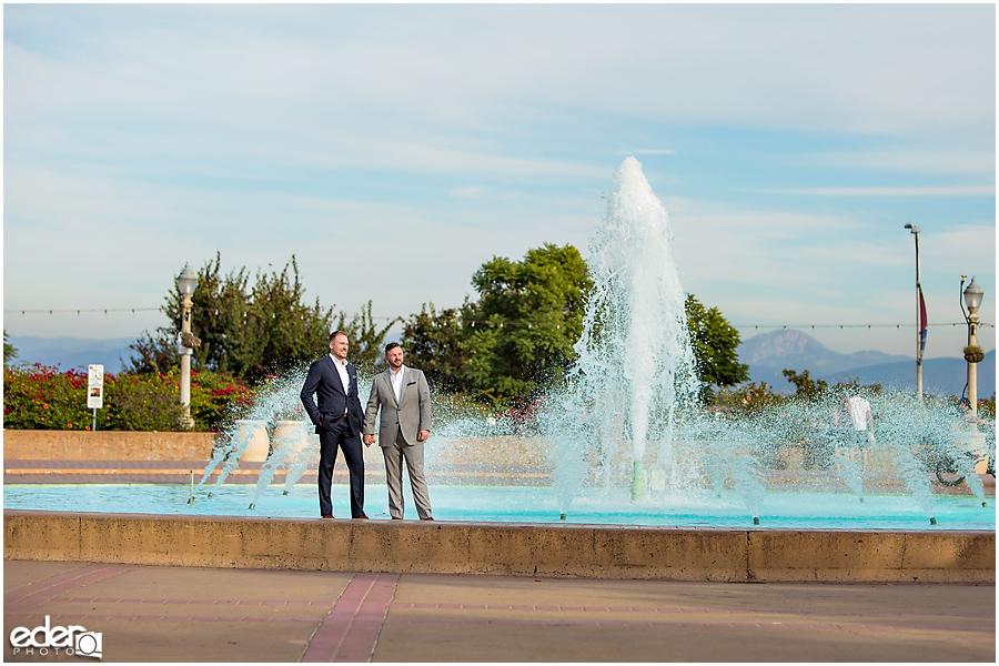 San Diego Elopement Photos at Balboa Park fountain.
