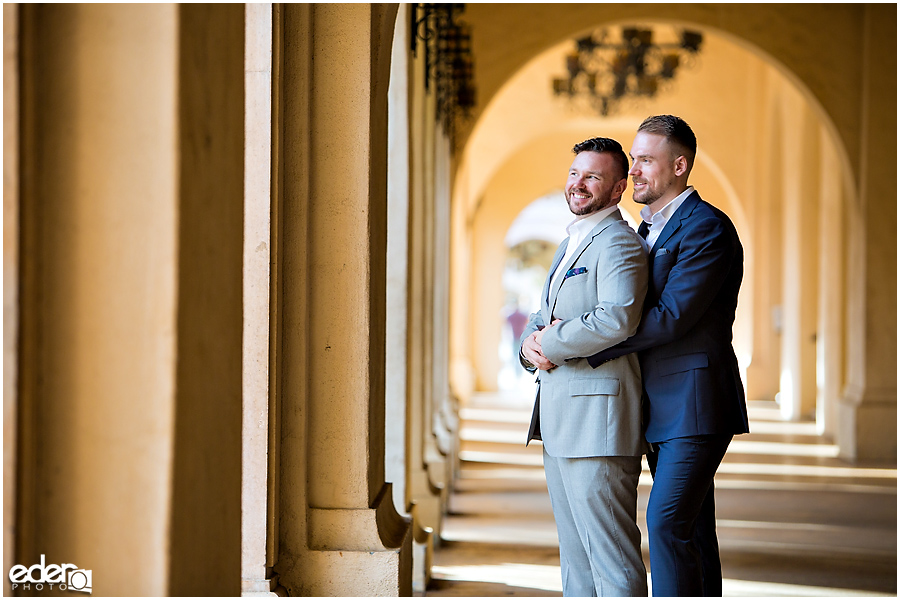 San Diego Elopement Photos at Balboa Park hallway.
