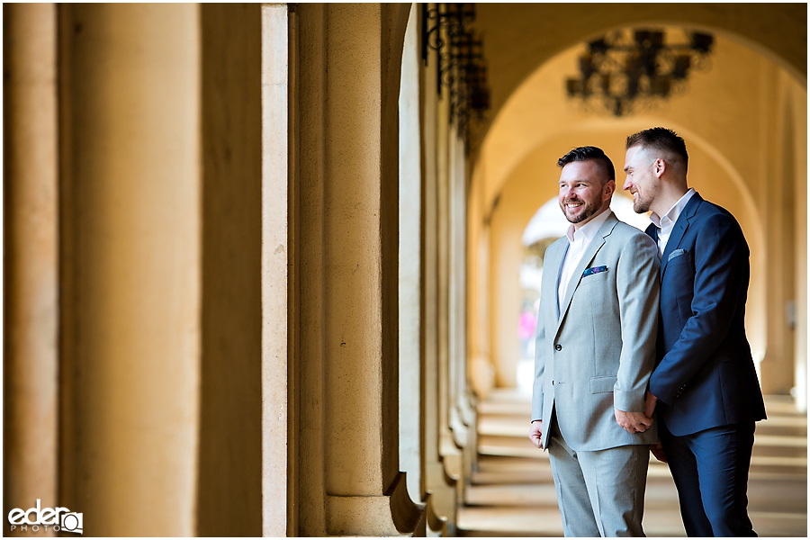 San Diego Elopement Photos at Balboa Park columns.