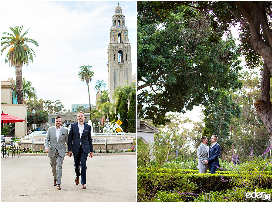 San Diego Elopement Photos at Balboa Park Panama Plaza.