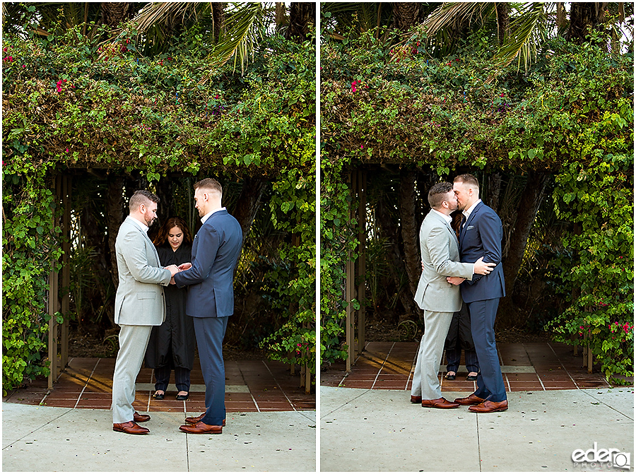 San Diego County Building Elopement Ceremony kiss.