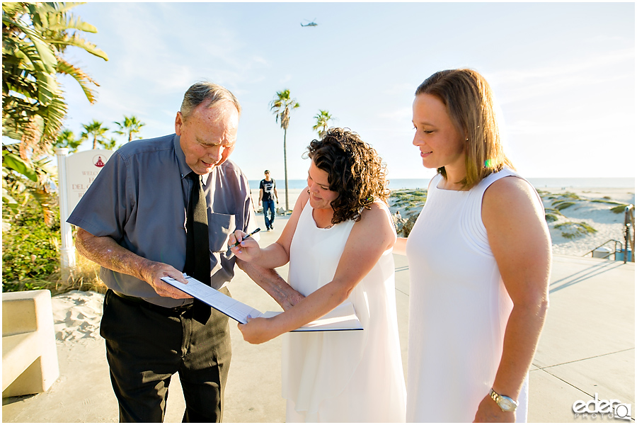 Coronado Beach Elopement - signing of marriage license
