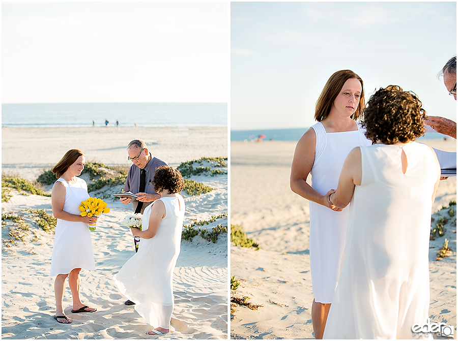 Coronado Beach Elopement - vow exchange