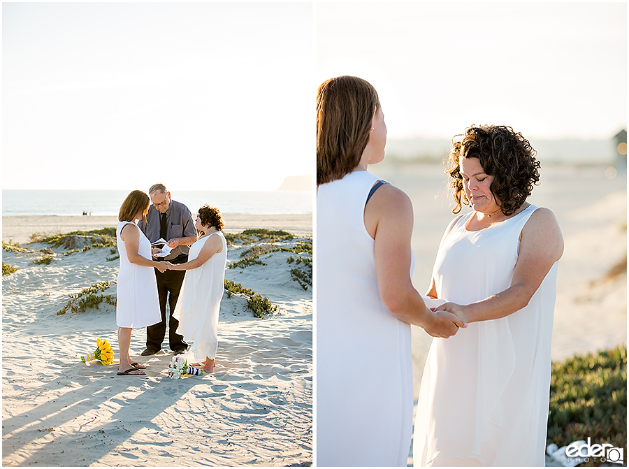 Coronado Beach Elopement - ring exchange