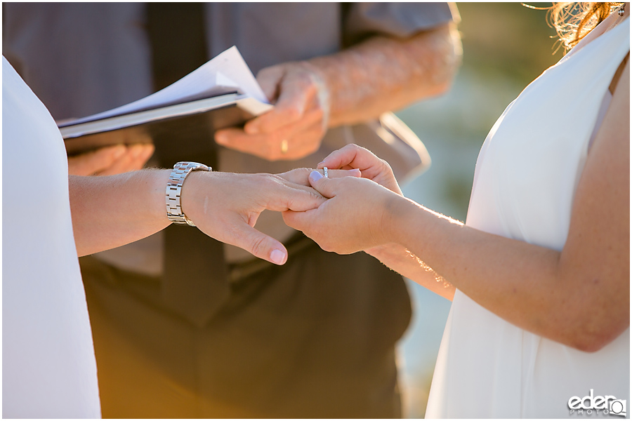Coronado Beach Elopement - exchanging of rings
