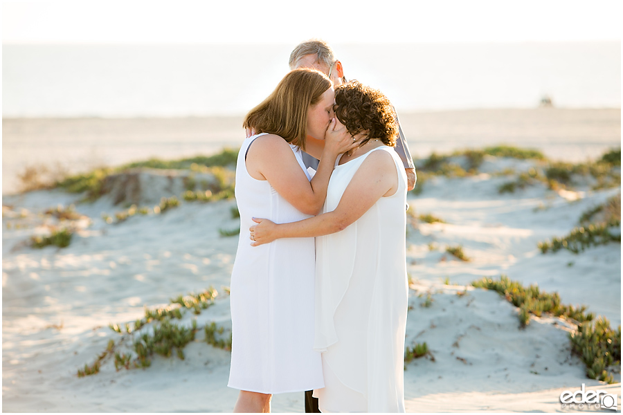 Coronado Beach Elopement - first kiss