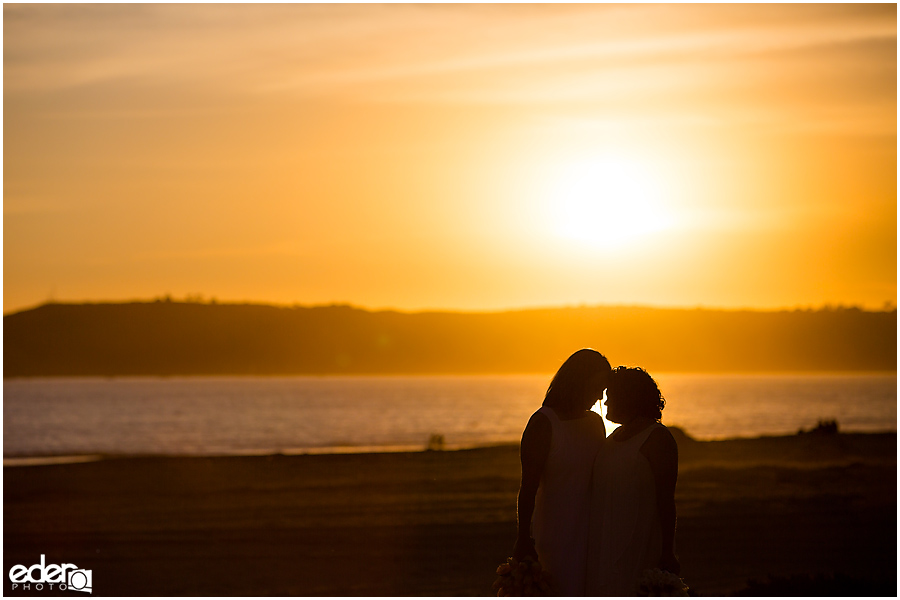 Coronado Beach Elopement - sunset silhouette