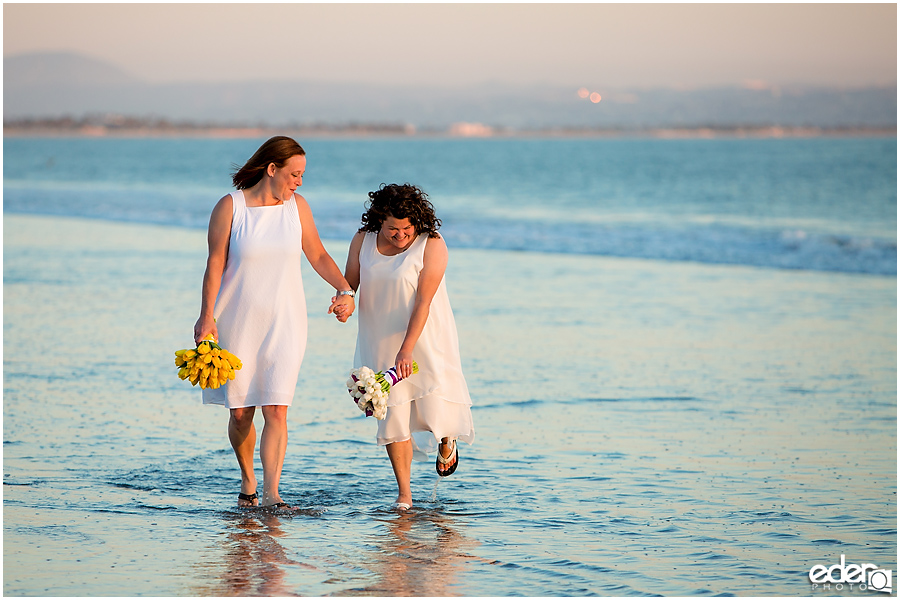Coronado Beach Elopement - photos in the water