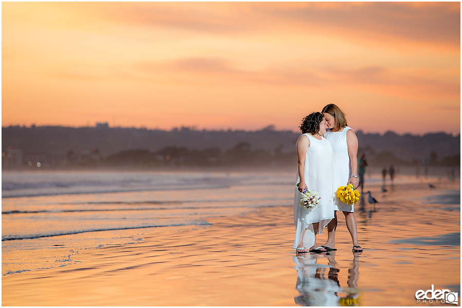 Coronado Beach Elopement - sunset bride portraits