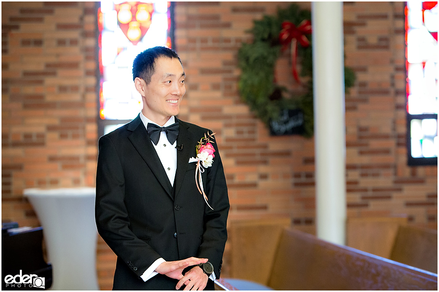 Torrey Pines Church Wedding - groom waiting