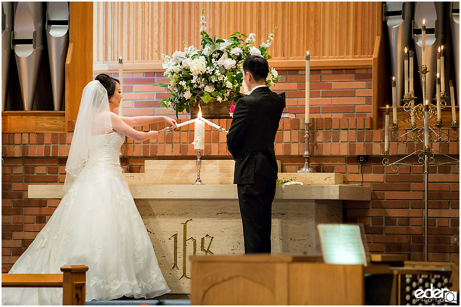 Torrey Pines Church Wedding - candle lighting