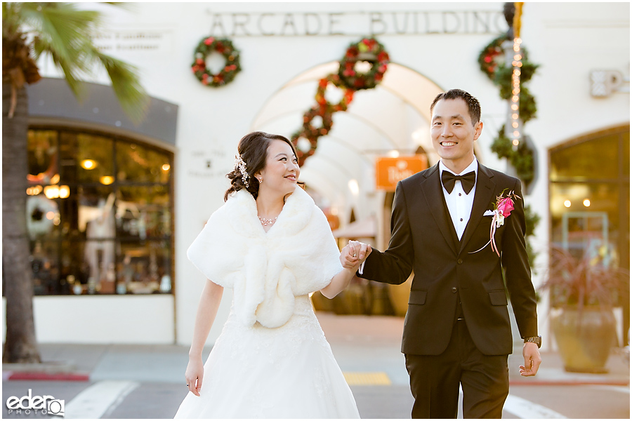 Small Winter Wedding La Jolla - bride and groom downtown