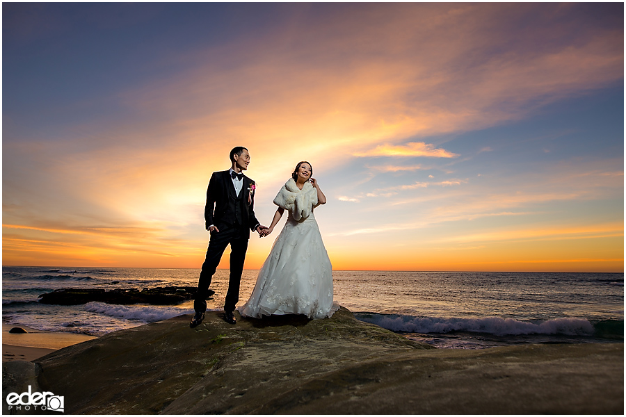 Small La Jolla Winter Wedding sunset beach portrait