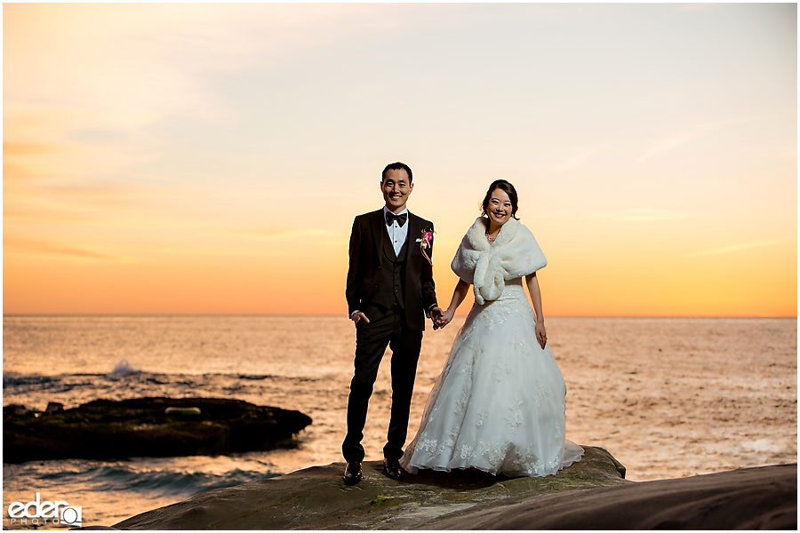 Sunset beach portrait for La Jolla Wedding