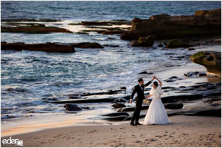 Small Winter Wedding La Jolla - bride and groom at beach