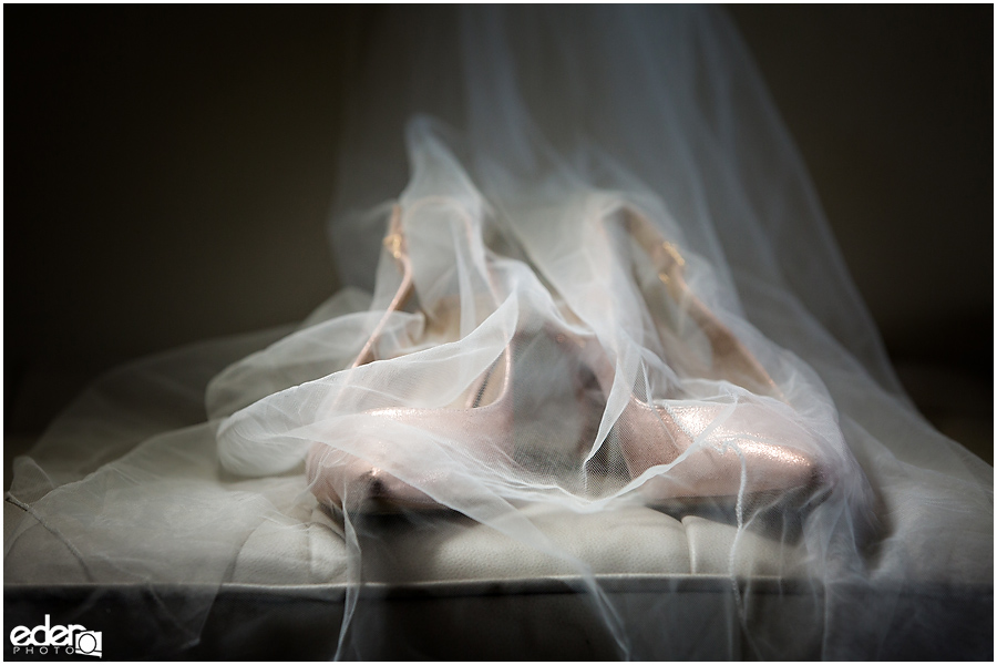 Wedding shoes under veil