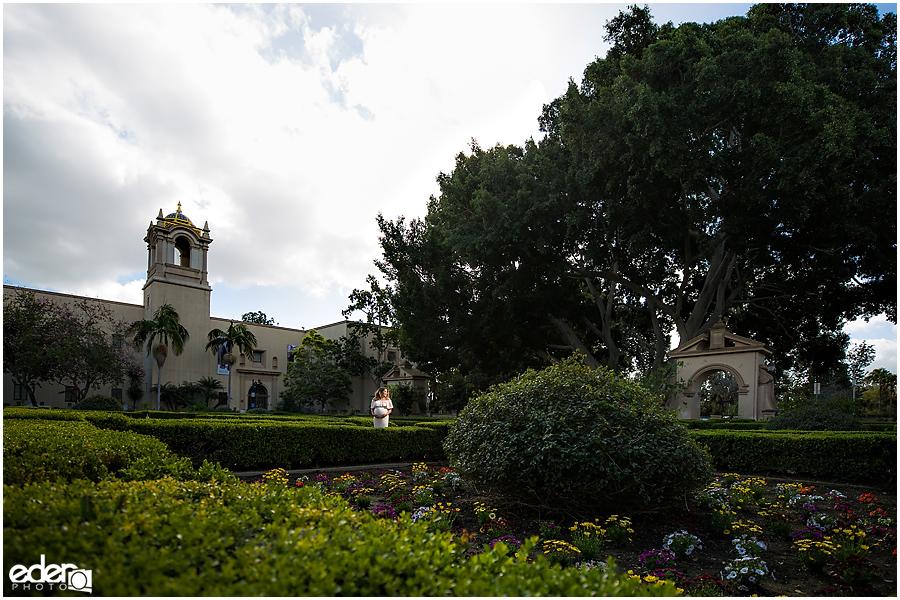 Balboa Park maternity session garden photo