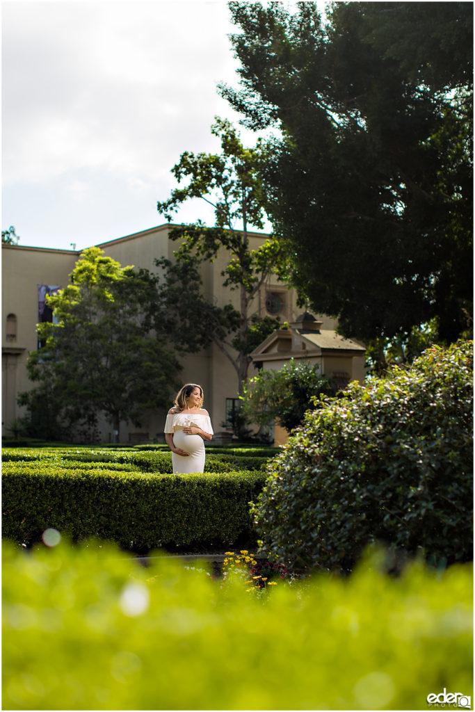 Balboa Park maternity session photo in garden