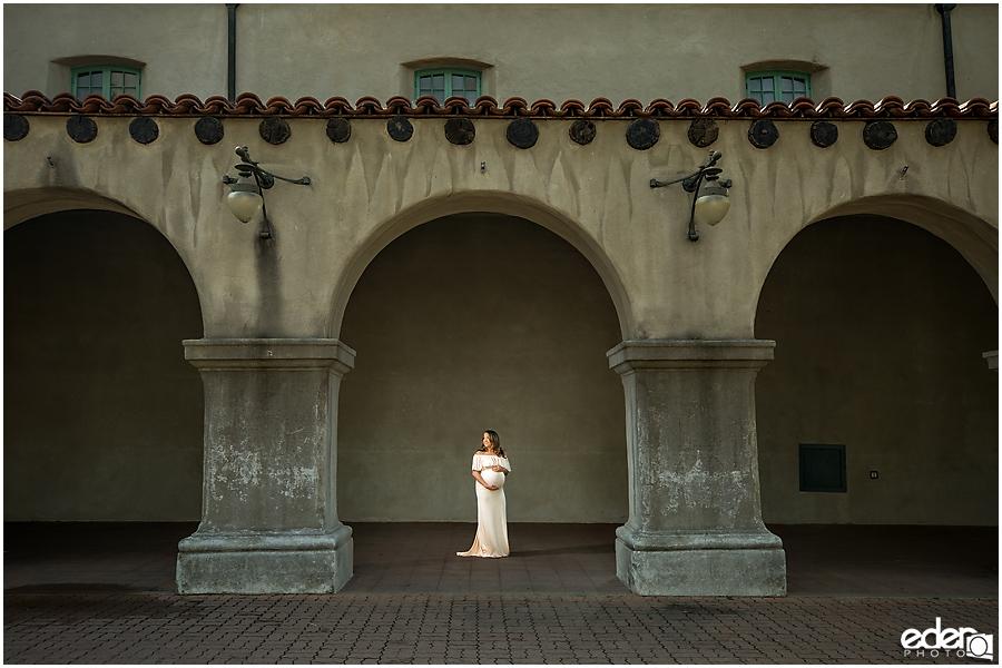 Balboa Park maternity session classic architecture.