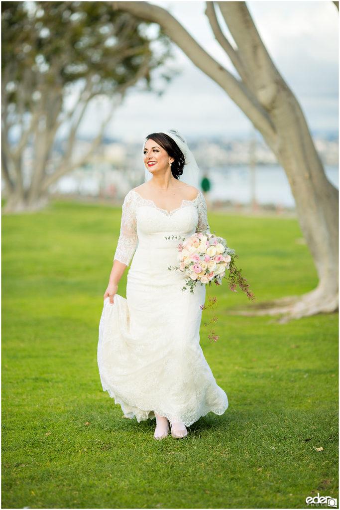 Kona Kai Wedding portrait of bride walking.
