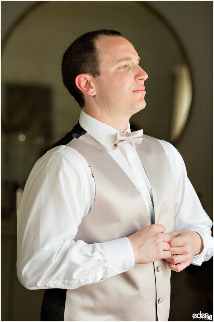 Kona Kai Wedding photo of groom getting ready.
