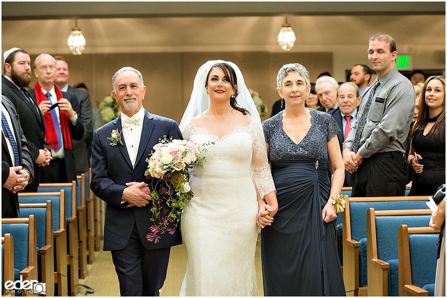Ohr Shalom Synagogue wedding bride and parents.