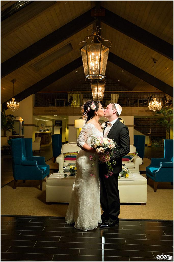 Kona Kai Wedding portrait in lobby.