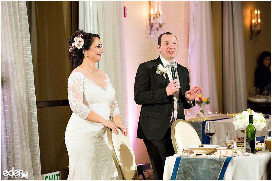 Kona Kai Wedding reception couples toast.