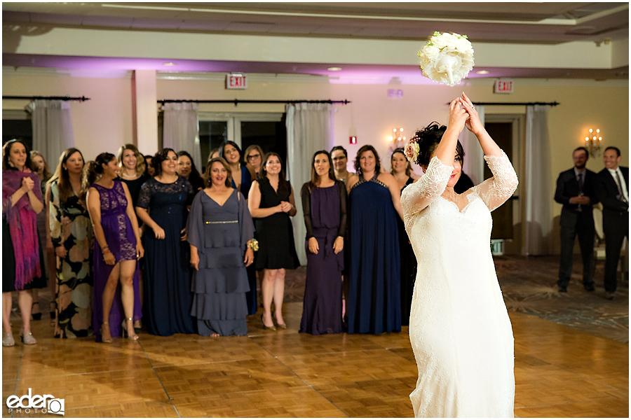 Kona Kai Wedding reception bouquet toss.