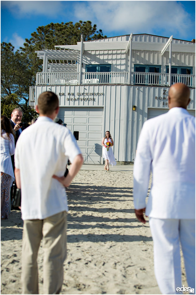 ZLAC Rowing Club Wedding Ceremony bride walking
