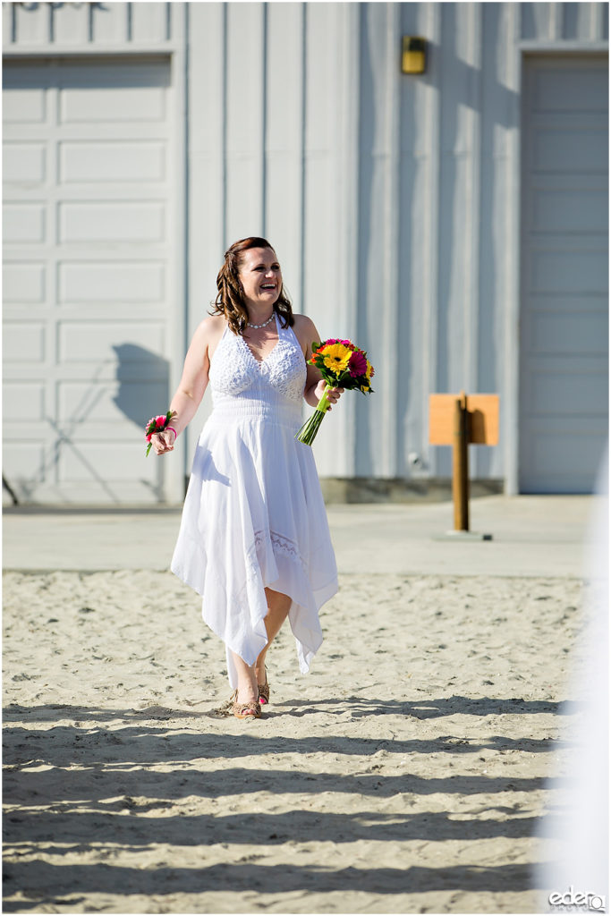ZLAC Rowing Club Wedding Ceremony bride walking