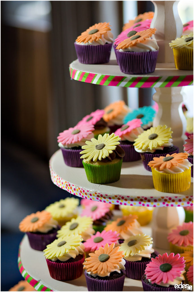 ZLAC Rowing Club Wedding Reception flower cupcakes.