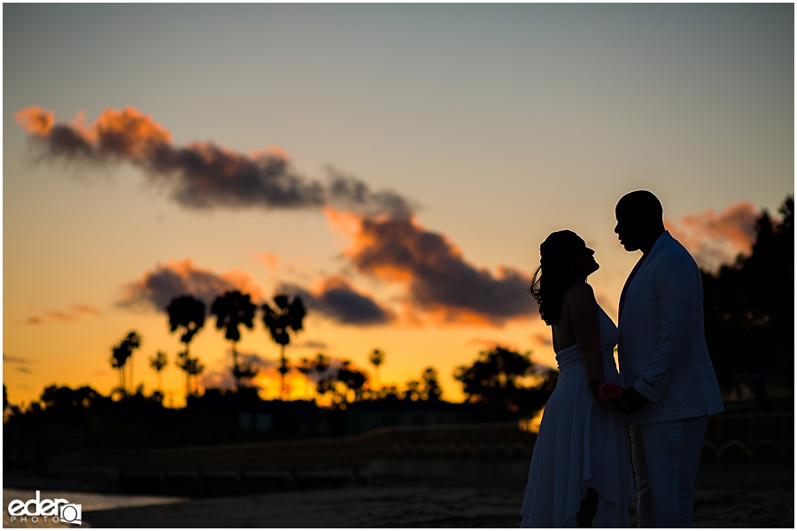 ZLAC Rowing Club Wedding silhouette portraits of bride and groom.