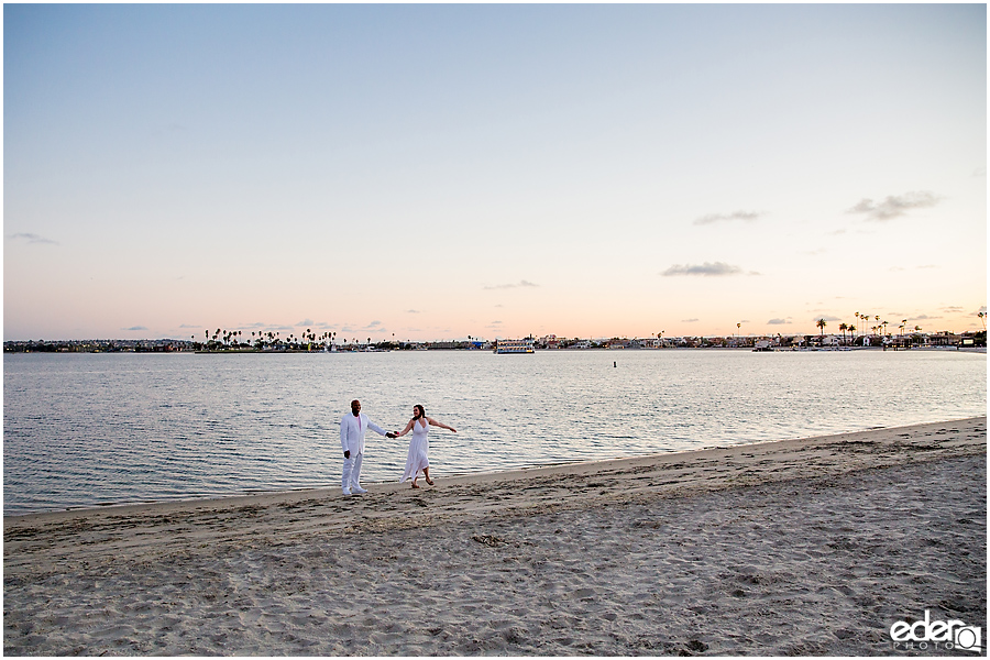Sunset wedding portrait in Mission Bay.