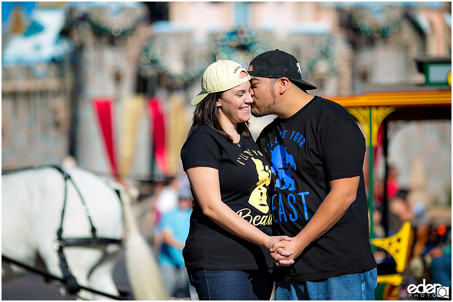 Disneyland Engagement Session in front of Castle