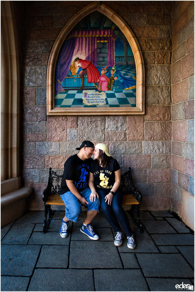 Disneyland Engagement Session in Sleeping Beauty Castle